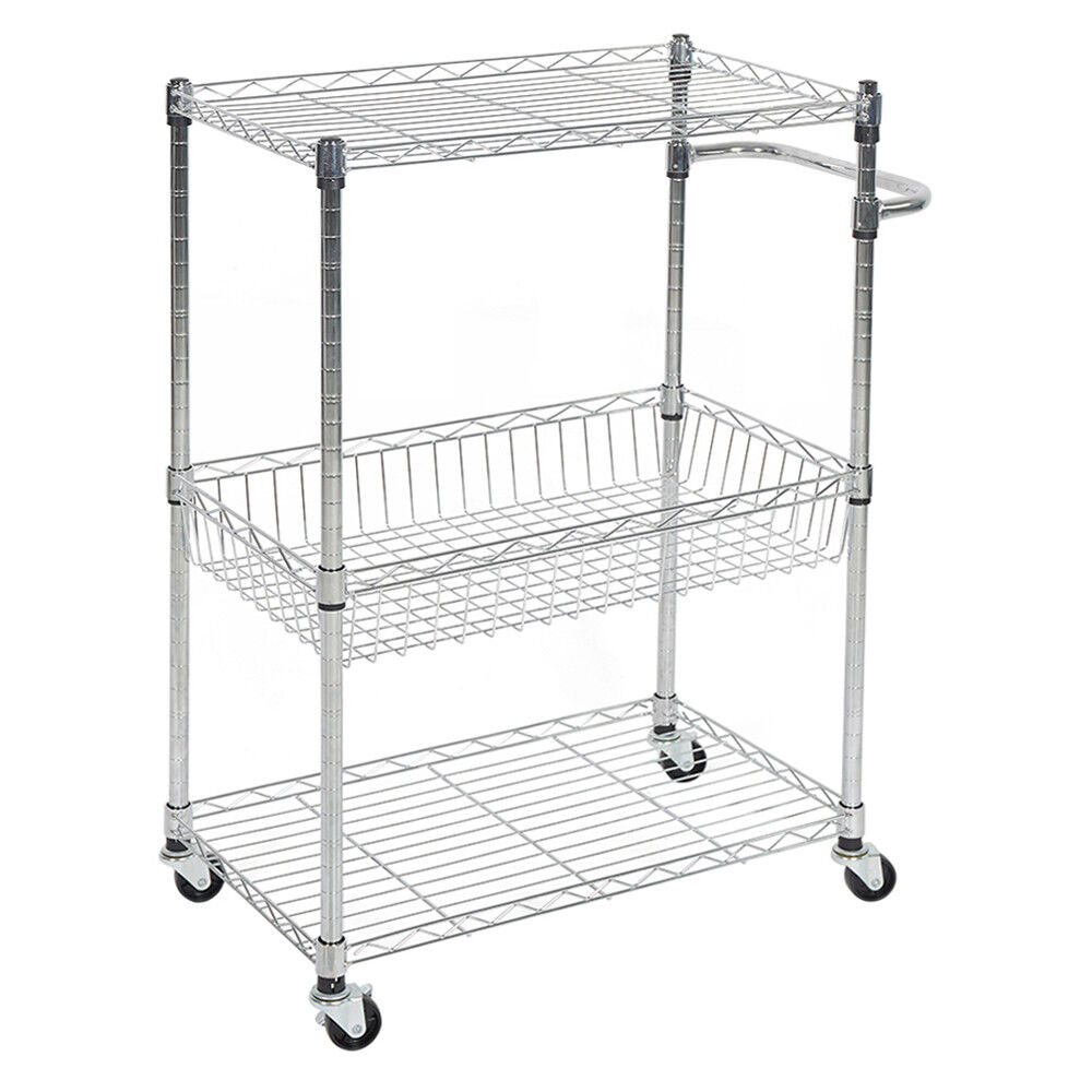 Details About 3 Tier Kitchen Cart With Wire Baskets And Handles Trolley Locking Wheels