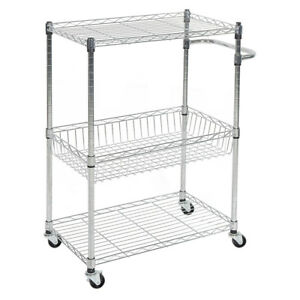 Details about 3-Tier Kitchen Cart with Wire Baskets and Handles,Trolley  with Locking Wheels