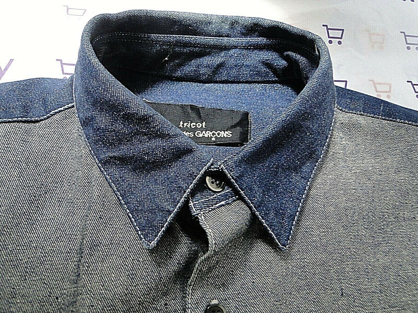 COMME DES GARCONS shirt dark indigo denim reversed front lg ch 48
