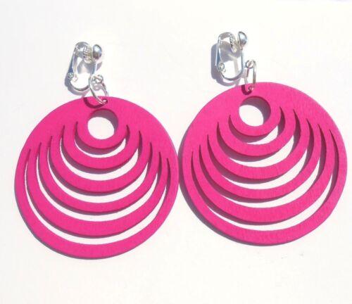 Caliente rosa oscuro Diversión Aros Pendientes Clip las opciones de gancho de
