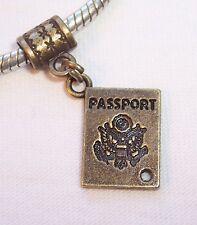Passport Travel Trip Vacation Bronze Dangle Bead fits European Charm Bracelets