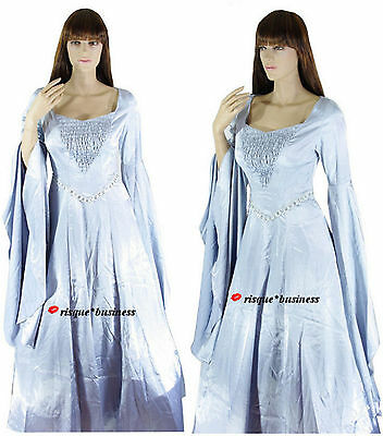 Medieval Silver Arwen Guinevere Game of Thrones Dress Gown Costume M/L 10 12 14