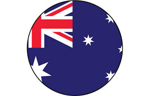 10 cm x 10 cm Drapeau australien australie remplie dans un cercle forme autocollant