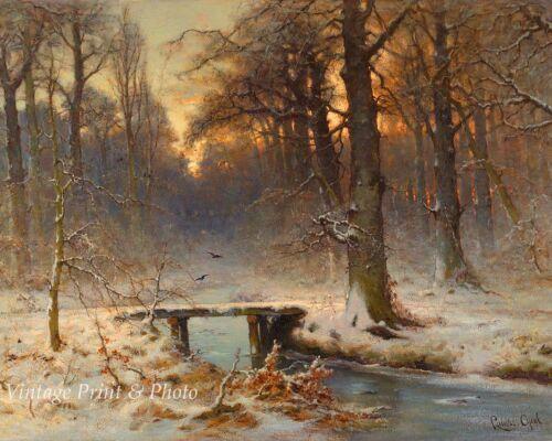 A January Evening by Louis Apol Art Winter Woods Creek Bridge  8x10 Print 1001