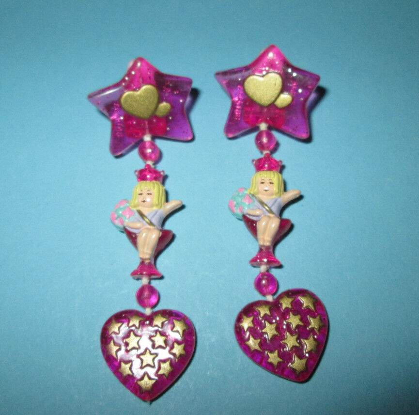 Polly Pocket Mini ♥ bonitos aretes ♥ Beauty Pageant Earrings ♥ 1993 ♥ complete