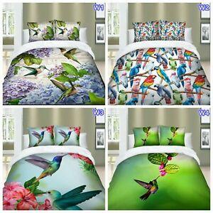 Floral Bird Doona/Quilt/Duvet Cover Set Single Double Queen King Size Bed Linen