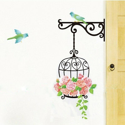 Flower Bird Cage Removable Wall Sticker Room Window Decor Mural Art Home Decal
