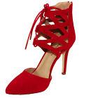 Bonnibel Women's Vivien-2 Pointy Toe Ankle Straps Lace up High Heel Dress Pumps