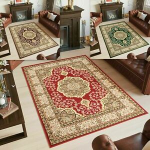 Red Brown Green Rug Traditional Floral Area Rugs Bedroom Classic Oriental Carpet Ebay