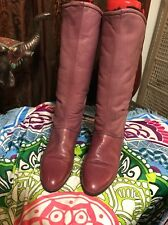 Siberian Husky  Pink  Leather Knee High Fleece Lined Slip On Boots Shoes 8.5 B