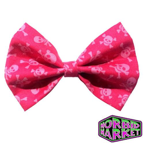 Handmade Pink Skull /& Crossbones Halloween Fabric Hair Bow Gothic Goth Horror