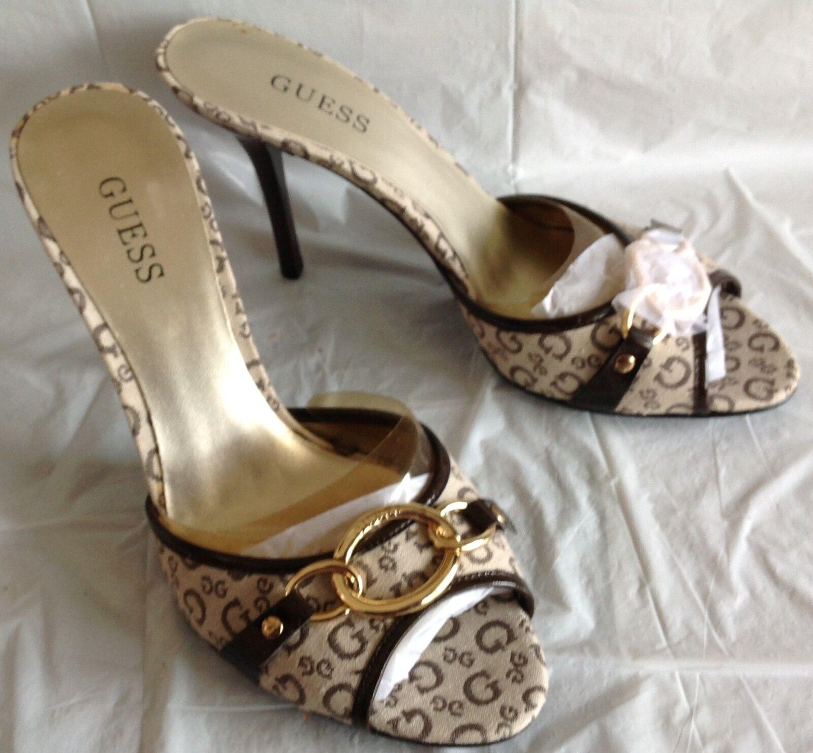 NWOB, Guess heels, Trey design, cream brown brown brown G logo canvas, slip on, size 7.5M eeb41c