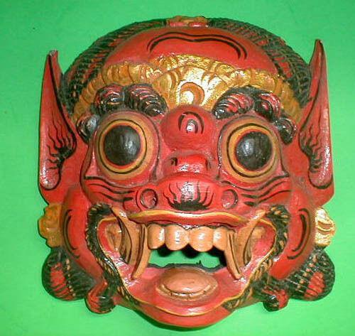 Máscara raksaksa demonio Bali Tallada a Mano Pequeño de 8.5 X 8 Pulgadas Rojo Negro O blancoo