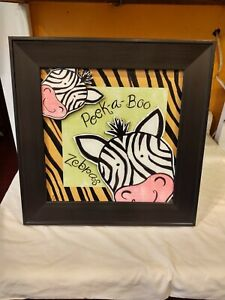 Peek-A-Boo-Zebra-Framed-Art-Visual-Art-Decor-Signed