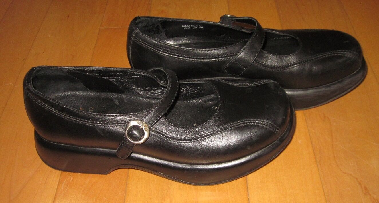 Dansko Womens Black Leather Slip On Closed Clog Mary Jane Shoes 40 US 9