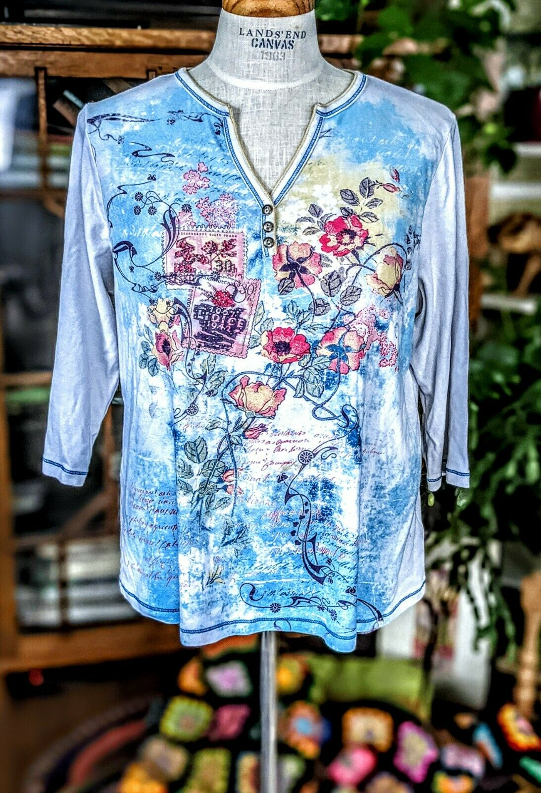 Vintage 1X Blue Canyon 3/4 Sleeve Top Floral Rhin… - image 4