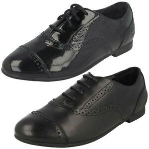 Leather cuero de Style de Up Clarks la Black Brogue Selsey Cool escuela Lace Patent Niñas zapatos Zxg1nq