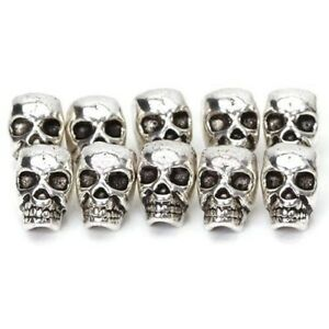 DIY-10pcs-10mm-Antique-Silver-Skull-Head-Spacer-Beads-Jewellry-Findings-4mm-Hole