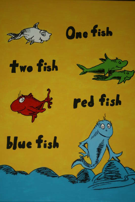 Dr. Seuss Suess One Fish CANVAS PAINTING Room Decor New