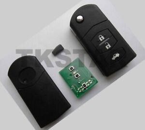 3-Tasten 433 Mhz Funk Schlüssel Fernbedienung für Mazda 2 3 + 4D63 Transponder