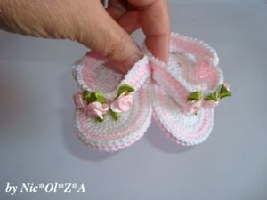 eb669399b3493 Details about Handmade, Crochet Baby Girl First Flip Flop Sandals White,  Pink Roses, Newborn