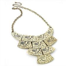 "16"" long BoHo style antique- gold tone collar / bib style statement necklace"