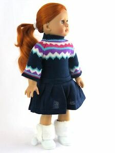 "6pc Boy/'s BLUE /& TAN DOLL Clothes PANTS /& SWEATER SET fits 18"" AMERICAN GIRL"