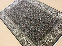 4'.1 X 6'.2 Black Beige Geometric Persian Oriental Area Rug Hand Knotted Wool