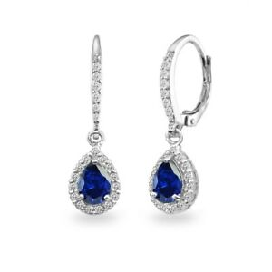 925-Silver-Created-Blue-Sapphire-Teardrop-Dangle-Halo-Earrings-with-White-Topaz