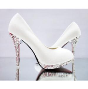 Womens Elegant Wedding White Bridal Bridesmaid Shoes Banquet Dress Pumps Plus Sz