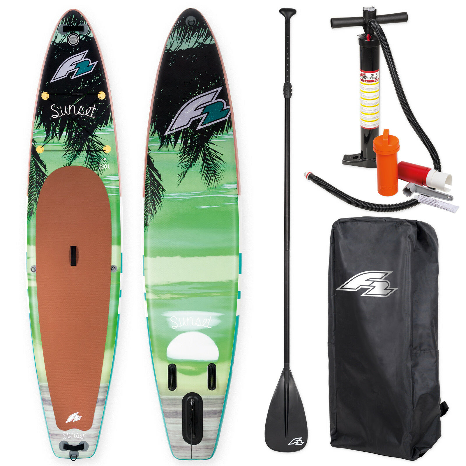F2 Sup Sunset verde 11,5  Stand Up Paddle Board + Remos y Bomba  Testboard