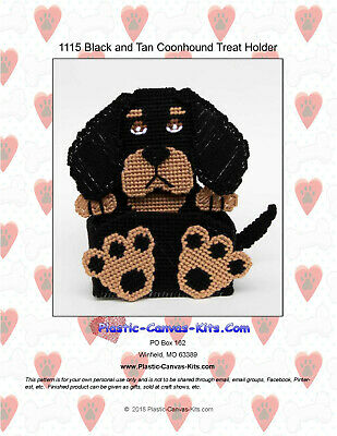 Plastic Canvas Pattern or Kit Black and Tan Coonhound Dog Treat Holder