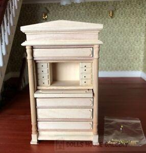 Bare Wood Writing Bureau, Dolls House Miniatures, Study Furniture