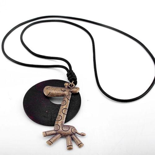 Nouveau Belle girafe bois rond Pendentif Noir Long Cordon Chaîne neckklace Cadeau