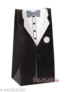 WEDDING-Groom-FAVOR-BOXES-8-Bridal-Party-Supplies-Paper-Decorations-Loot-Tux