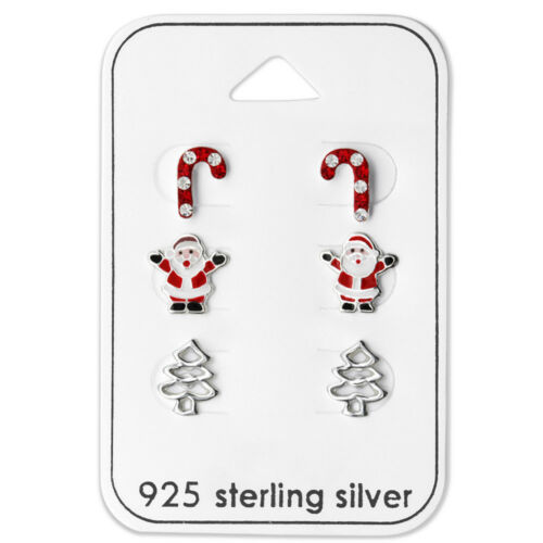 925 Sterling Silver Santa Crystal Candy Cane Christmas Tree Stud Earrings Set