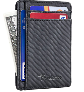 TRAVELAMBO RFID FRONT POCKET MINIMALIST SLIM WALLET GENIUNE LEATHER BLACK
