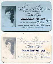 """Vintage """"LORETTA LYNN INT'L FAN CLUB"""" Membership Cards - 1973 & 1974"""