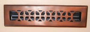 """Vent Covers Unlimited 2.25"""" X 12"""" Antique Solid Copper heater Vent CF142AN-VCU"""