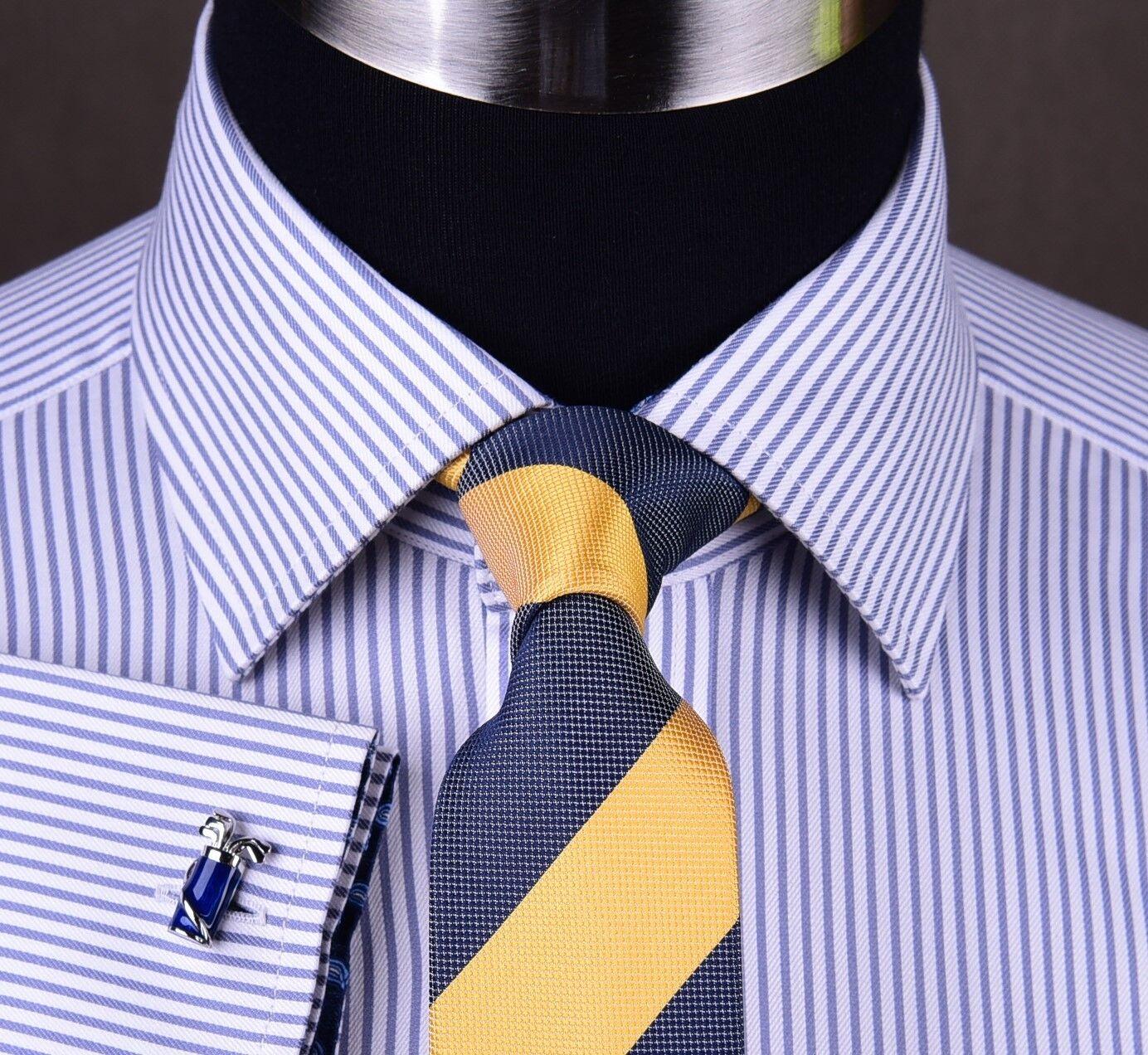 Mens Purple Striped Formal Business Dress Shirt Egyptian Cotton Boss Paisley Top