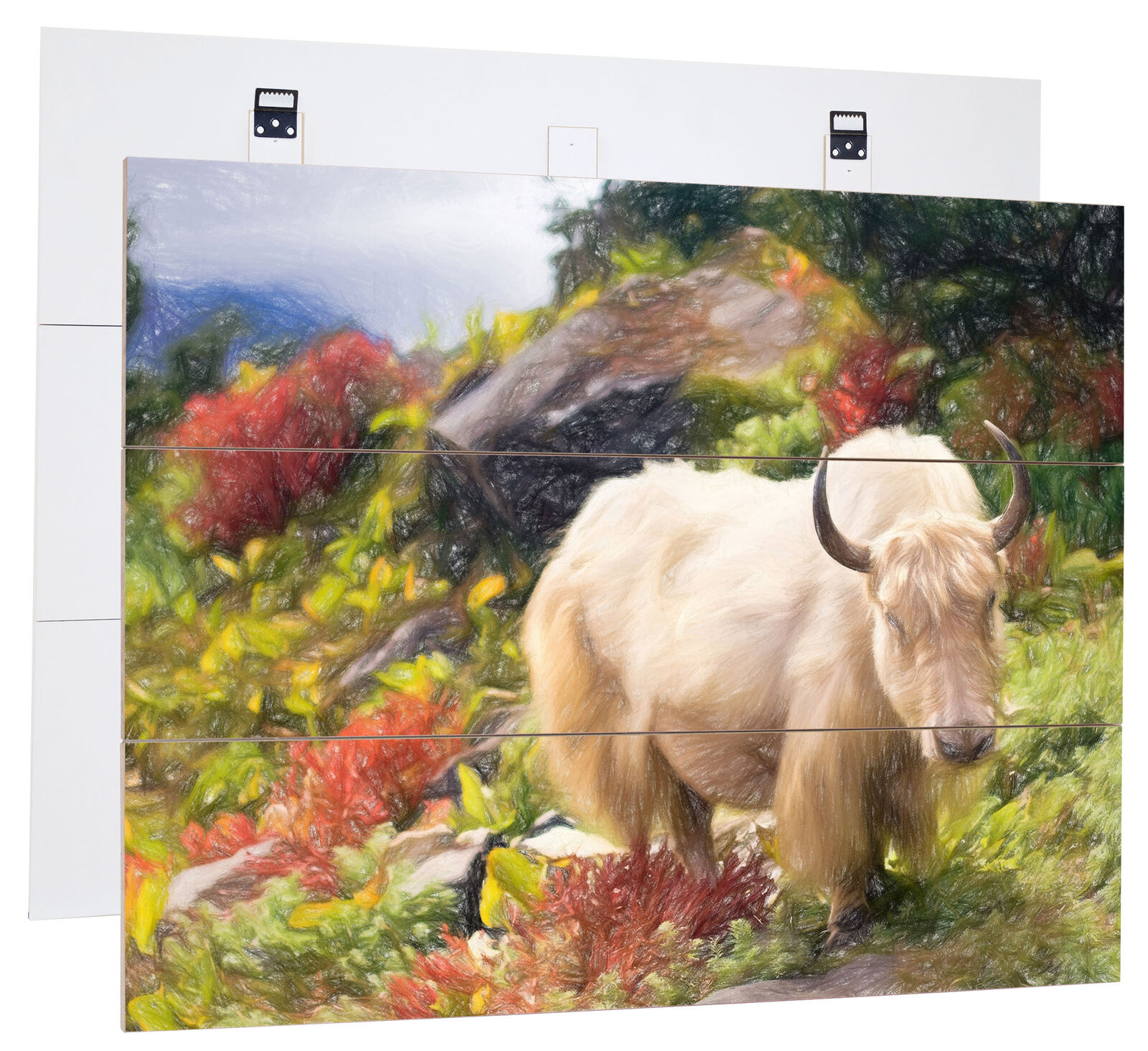 Beautiful Yak Himalayan Art Pencil Effect-Genuine MDF boisen Picture Boards Look, H