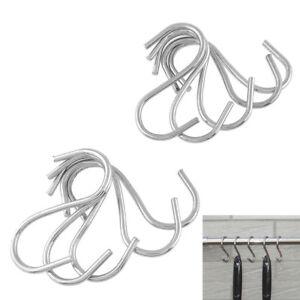 10x-Metal-Steel-S-Hooks-Hanging-Rail-Pot-Pan-Hanger-Utensil-Garage-Garden-Cloth