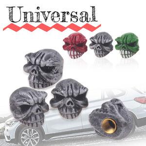 4x-Silver-Skeleton-Tire-Wheel-Air-Skull-Valve-Caps-Cover-Car-Truck-Bike-Resin