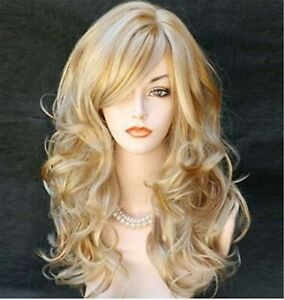 Women-Blonde-gold-Party-Function-Natural-Curly-Wavy-long-Hair-Costume-Full-Wigs