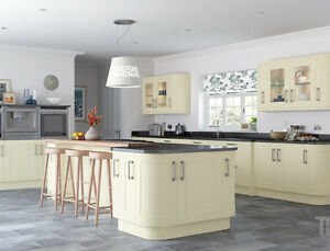 Cream ivory kitchen base and wall units cabinets complete for Cream kitchen carcasses
