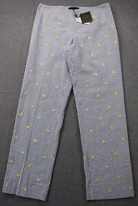 Sz 128 Donna Natalie Brothers Lemon Blue Brooks 8 Pantaloni Seersucker Nwt White qPzCna