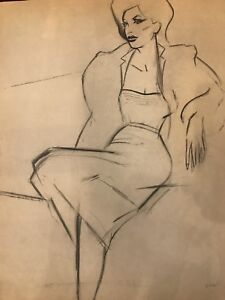 FOGG (1 of 2 Listed) - High Fashion Woman - Stunning Graphite - Signed