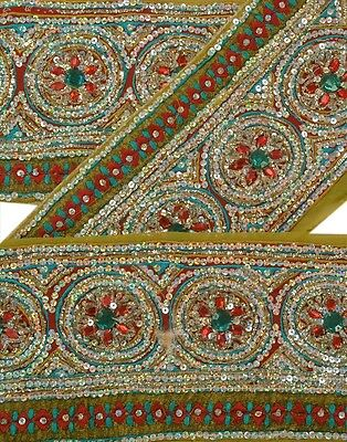 Sanskriti Vintage Saree Border Hand Beaded Indian Craft Trims Lace Decor 1 Yard
