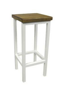 Barhocker Stahl Holz Stuhl Massiv Barstuhl Weiß Design Metall Hocker