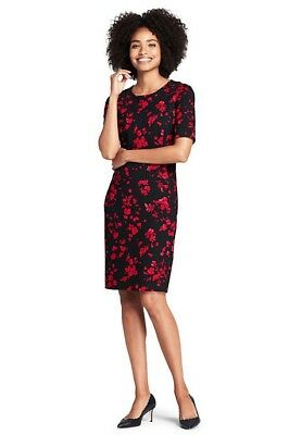 Lands End Women/'s Elbow Sleeve Ponte Sheath Dress Bright Cardinal Floral New